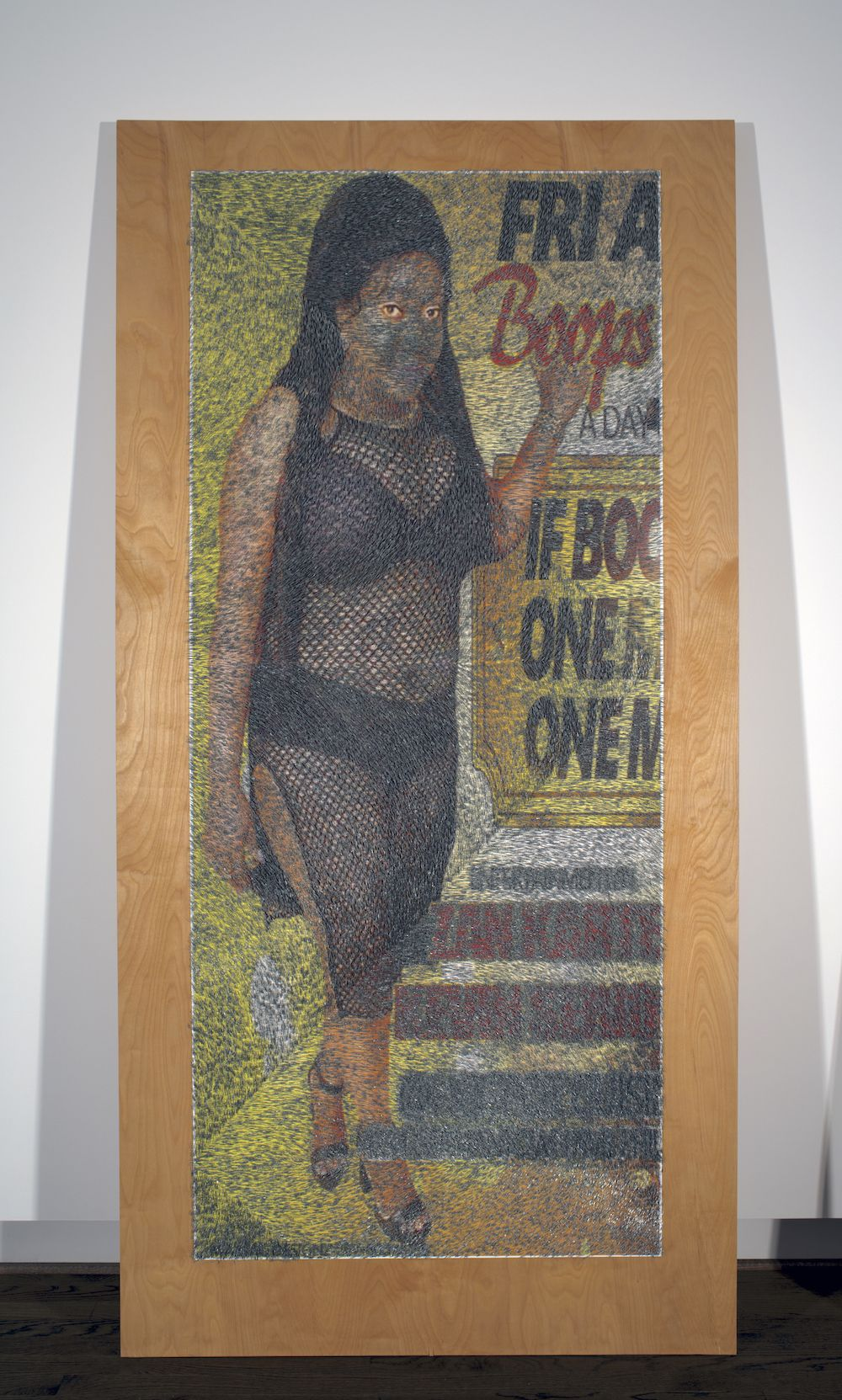 WILMER WILSON IV  A DAY staples and pigment print on wood 96 x 48 x 1.5 inches