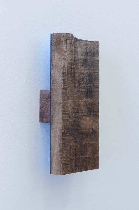Joe Ovelman Gettin a Chubbie wood, plastic, reclaimed leather, 12 x 5.5 x 2.5 inches