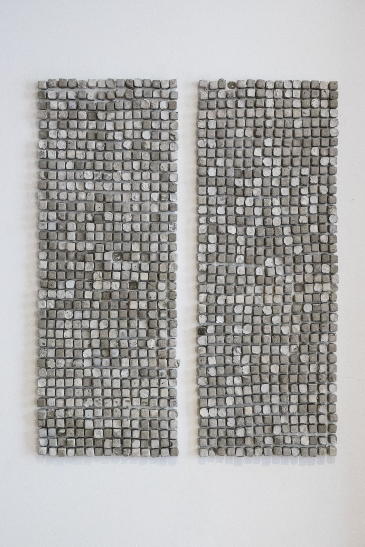 """SARA AL HADDAD  """"look at her"""", """"she looks as insecure as i am"""", (window 3) (detail) 2016, nails, concrete and metal sheets, 41 x 15 inches."""