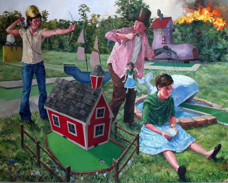 NATHANIEL ROGERS Muffet 2008, oil on panel, 20 x 21 inches.