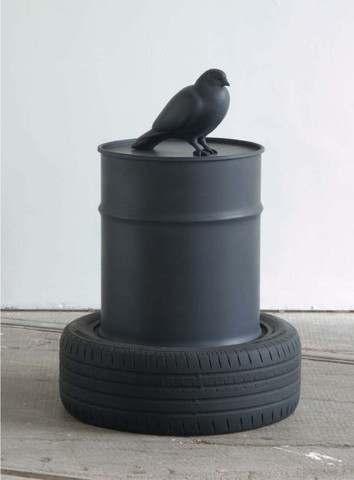 Kenny Hunter The Wasteland resin, oil can, jesmonite, paint, 35 x 25 x 25 inches sculpture