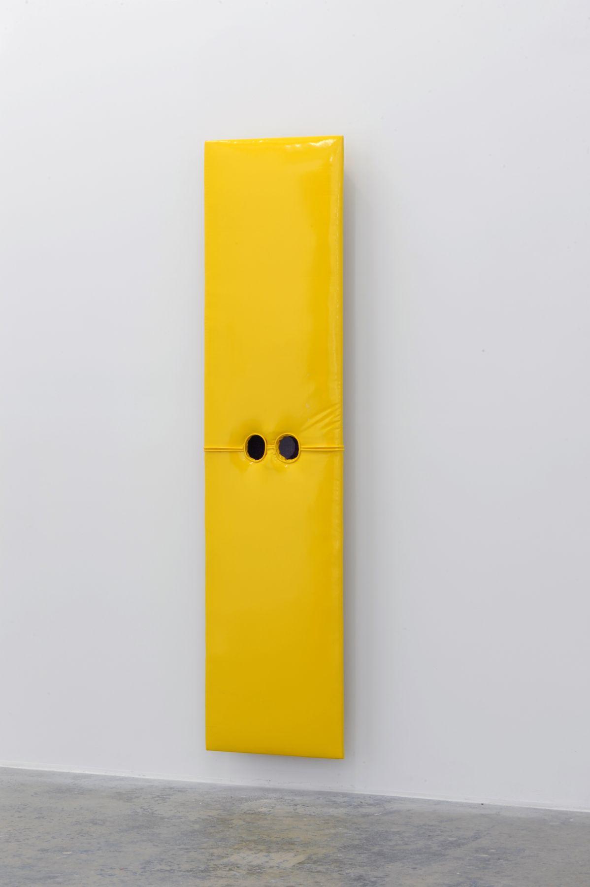 JOE OVELMAN Self Portrait Yellow Vinyl 2011, reclaimed wood, vinyl, plastic, 68 x 17 x 5 inches.