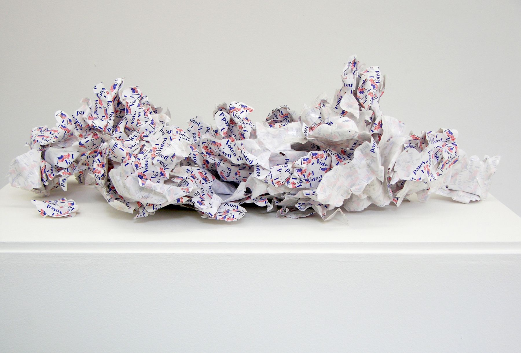 WILMER WILSON  Shed Skin (I voted) paper, adhesive, DNA, dimensions variable