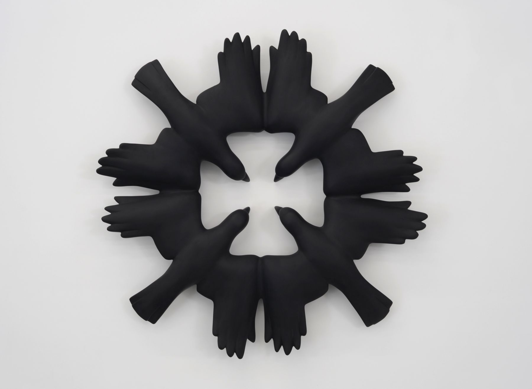 Kenny Hunter Roche Rooks jesmonite, paint, 47.5 x 47.5 x 6 inches sculpture