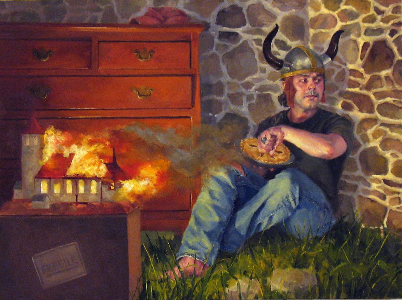 NATHANIEL ROGERS Jack Horner (The Last Viking) 2009, oil on panel, 6 x 8 inches.