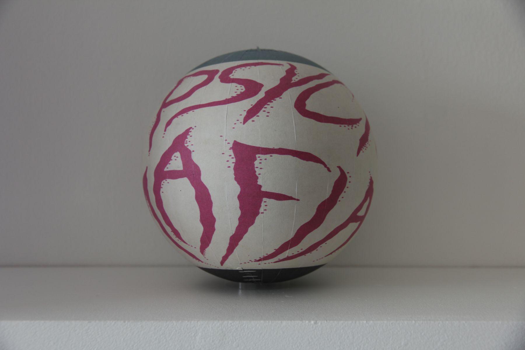 SUSAN MACWILLIAM  The Psychic Mafia  2013/2014, inkjet paper, plastic sphere, 6 x 6 x 6 inches