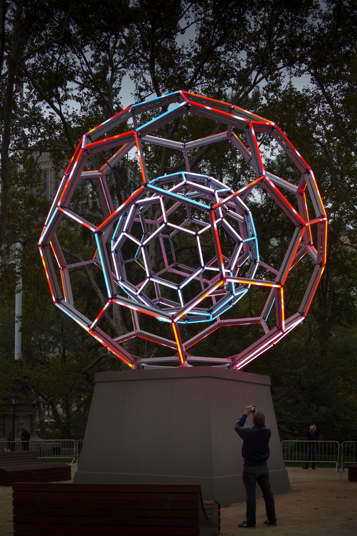 LEO VILLAREAL Buckyball light emitting diodes, custom software Installation view: Madison Square Park, New York, NY.
