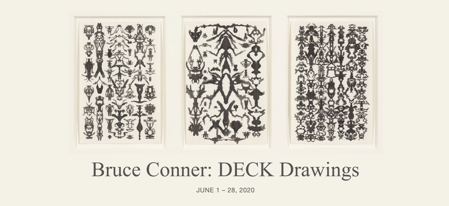 Bruce Conner TRIO 52-19-1, 1975 ink each card: 6 x 4 in. (15.2 x 10.2 cm) frame: 13 1/4 x 21 1/4 in. (33.7 x 54 cm)
