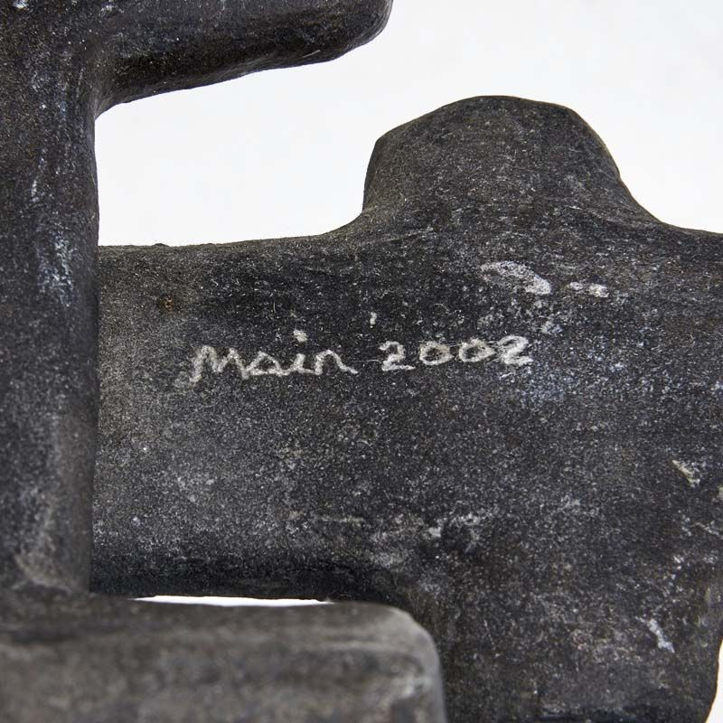 """Terence Main's """"My Eames is True"""" sculptural side chair detailed view of signature"""