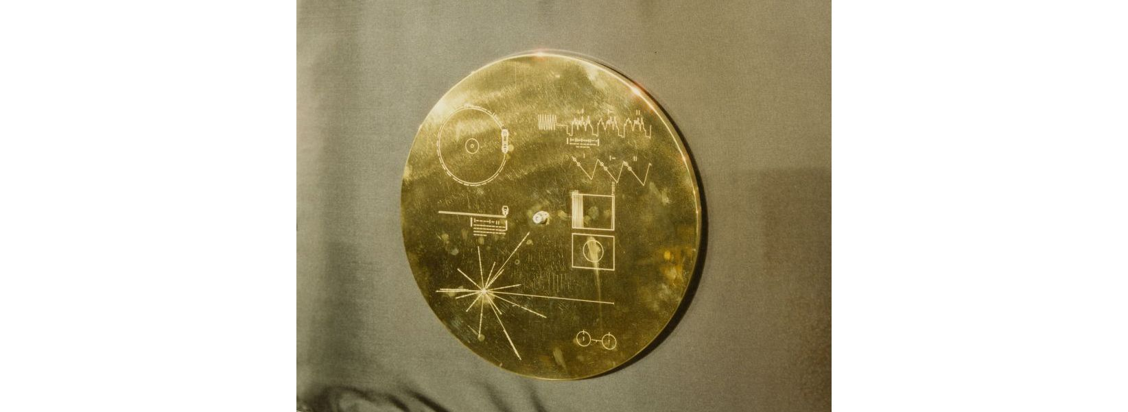 Photo from 1977 of NASA's Golden Record. A gold vinyl record hangs on a wall with geometric symbols etched on its surface.