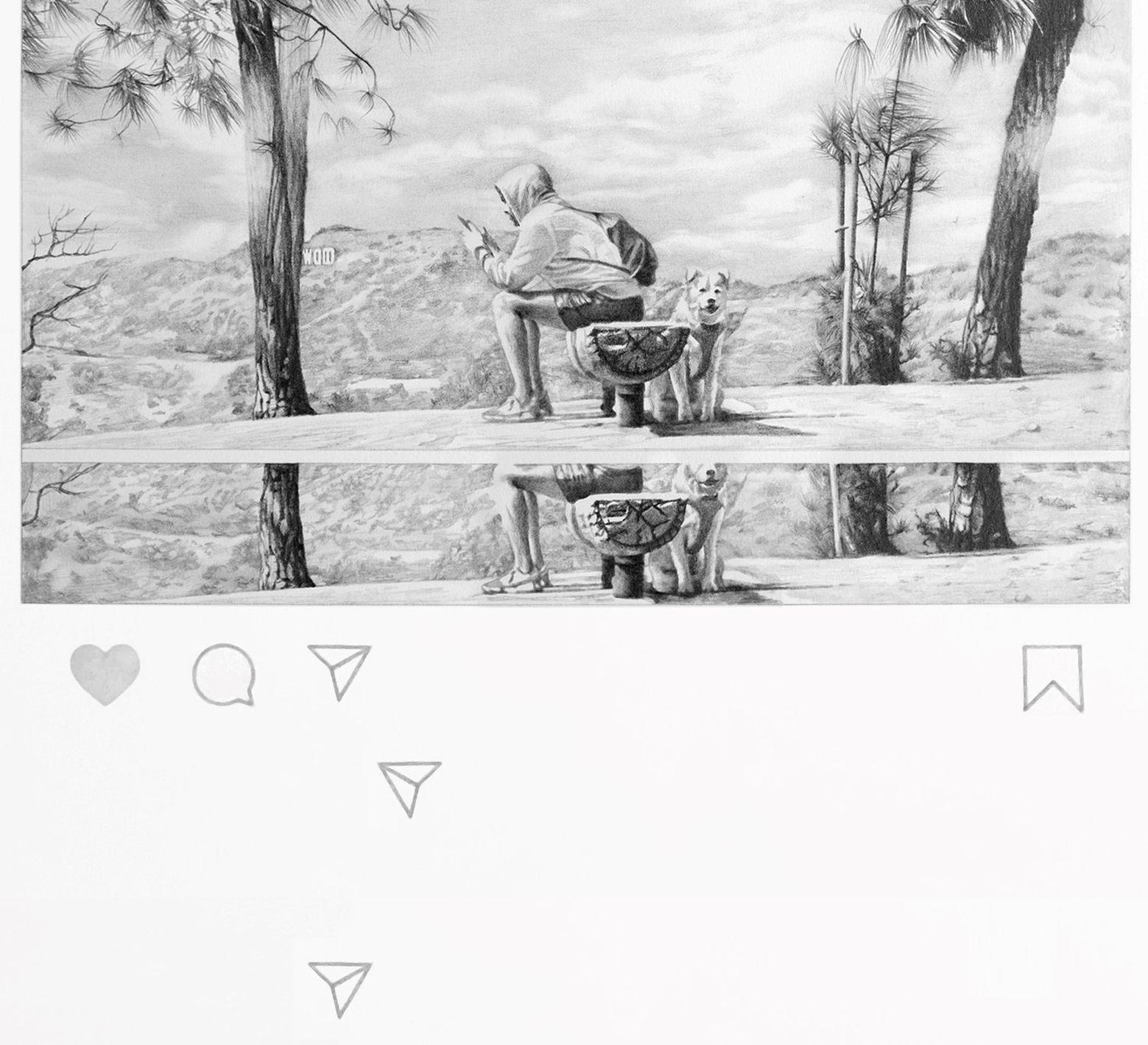 A detail view of a drawing based on an Instagram post that shows a man sitting on a bench and looking at his phone with a dog nearby