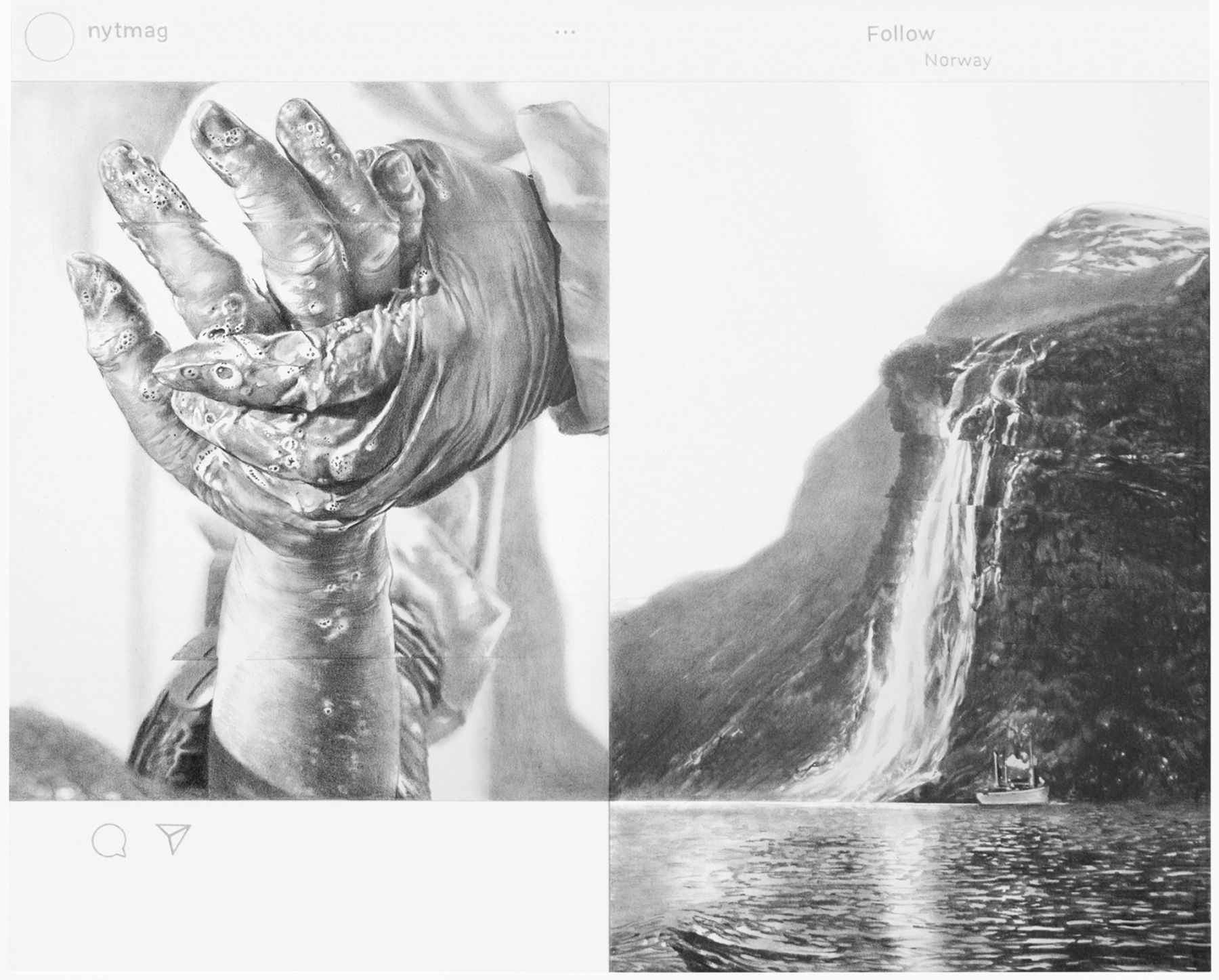 a detail view of a drawing based on two Instagram posts, one showing a closeup of hand washing and the one showing a boat on a lake in front of a waterfall