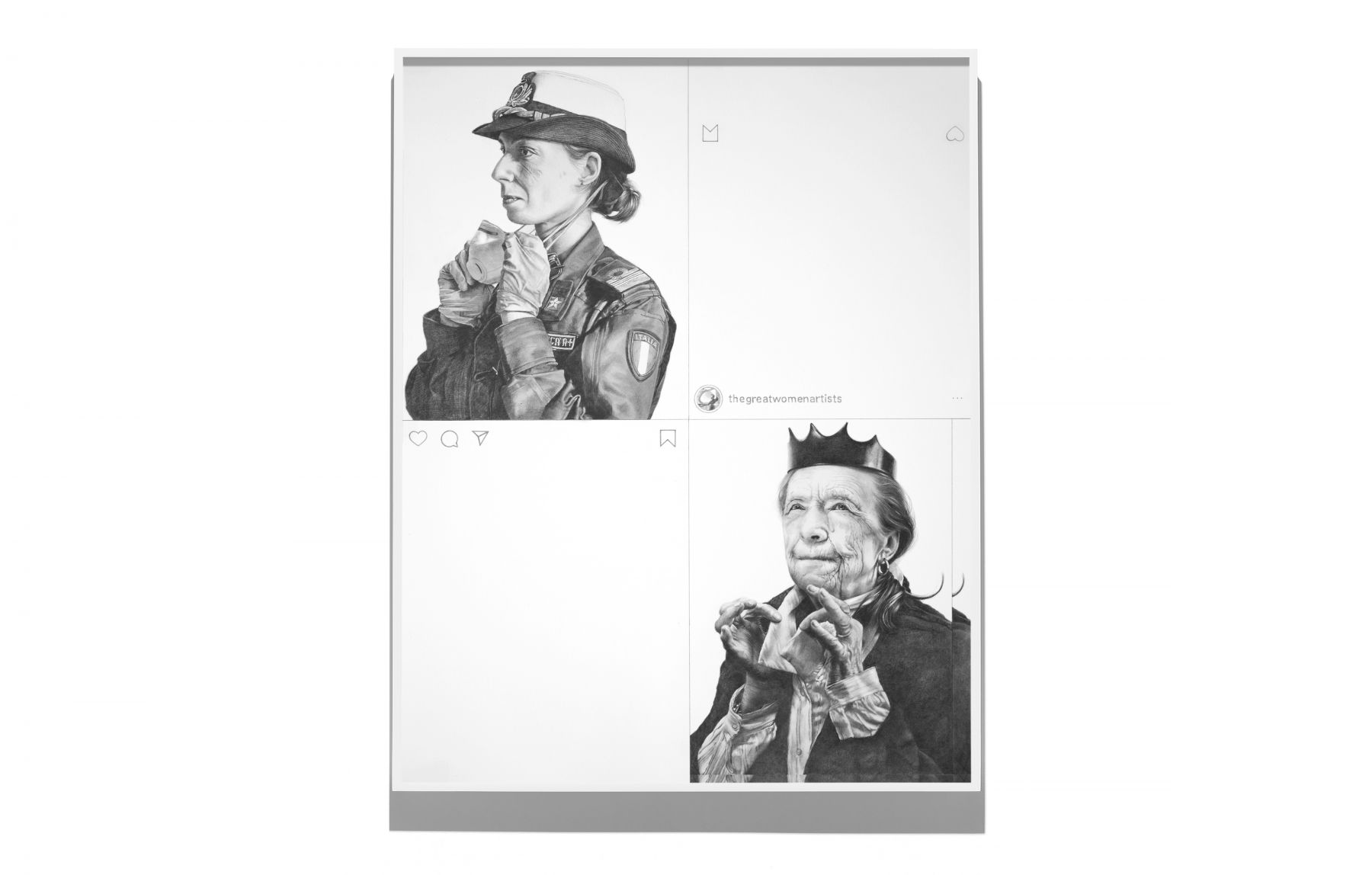 A drawing based on two Instagram posts, one that shows a medical worker in Italy removing a mask and one that shows the artist Louise Bourgeois