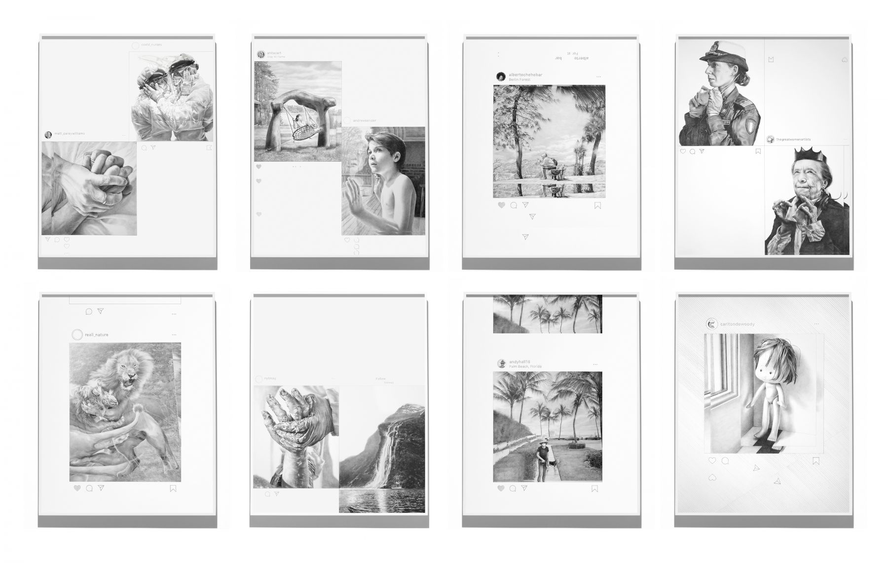 a group of framed drawings based on Instagram posts that comprise several of the works included in this online exhibition