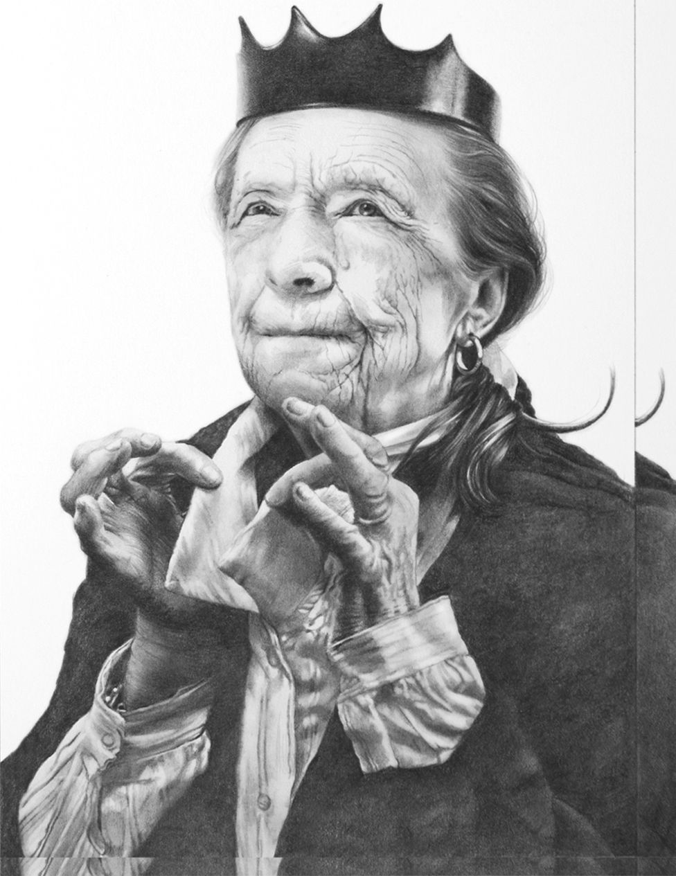 a detail view of a drawing based on two Instagram posts, one showing a medical worker removing a face mask and one showing the artist Louise Bourgeois