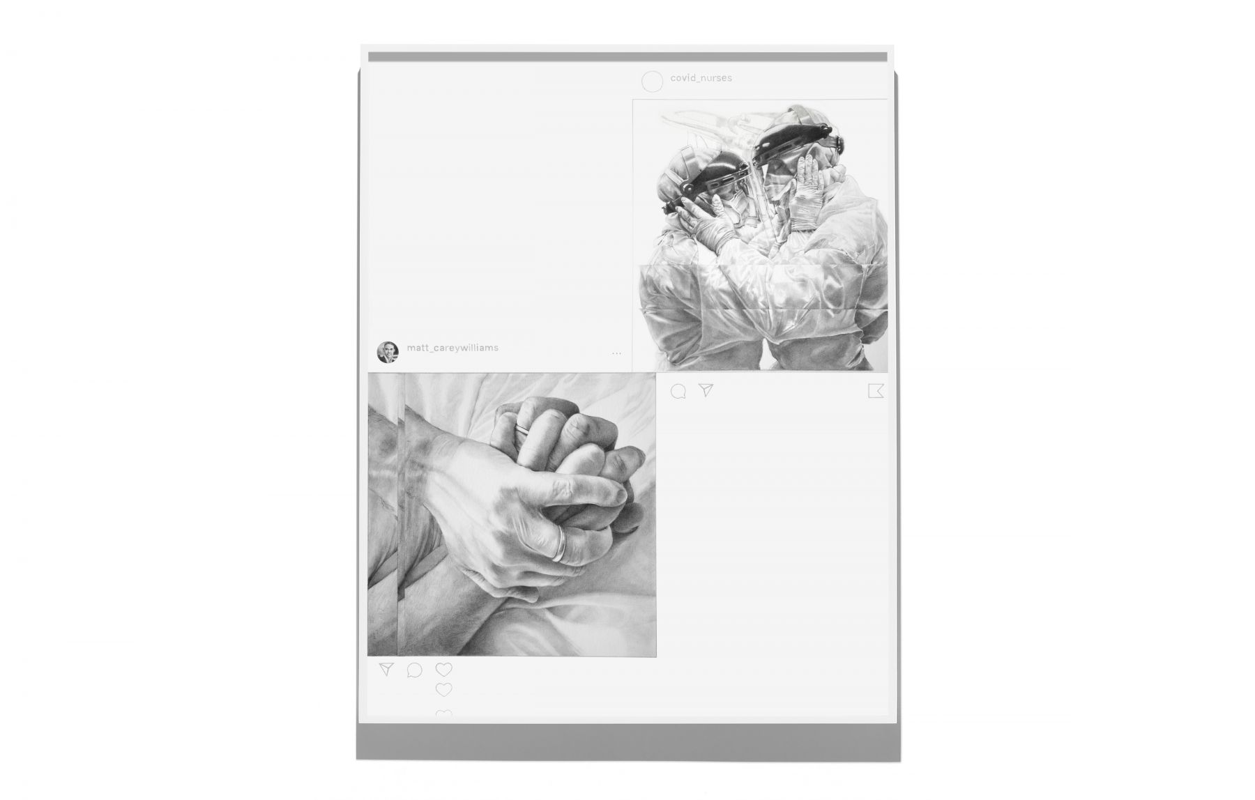 A drawing based on two Instagram posts, one that shows two medical workers in protective equipment embracing and one showing two hands clasped