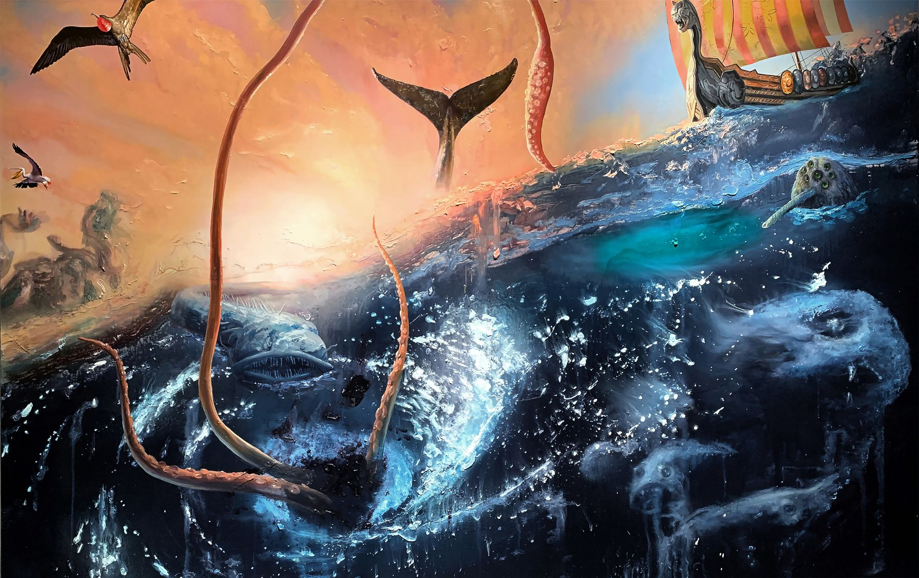 a kraken's tentacles and a whale tail emerge from a turbulent sea and birds fly overhead as a viking ship approaches