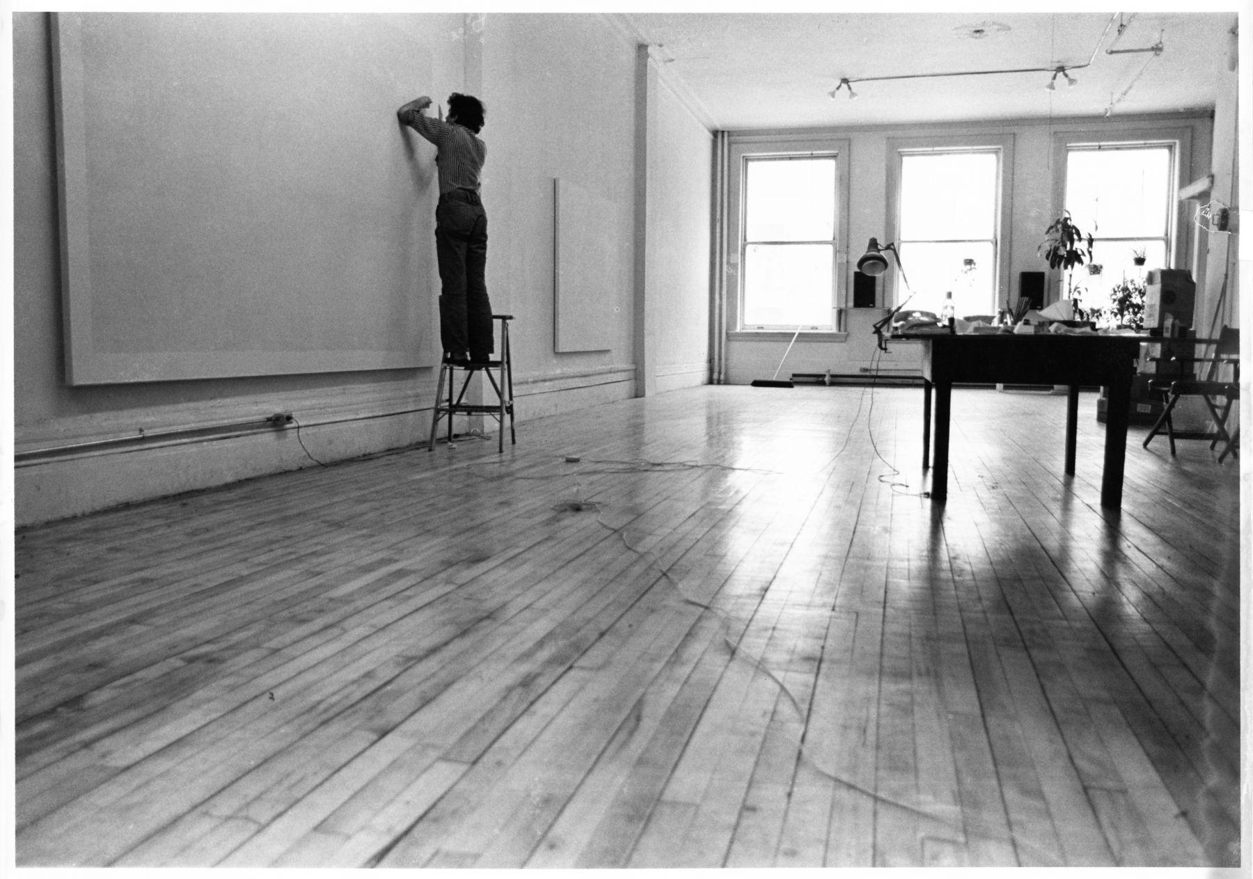 Image of Jacob El Hanani in his SoHo studio, 1974
