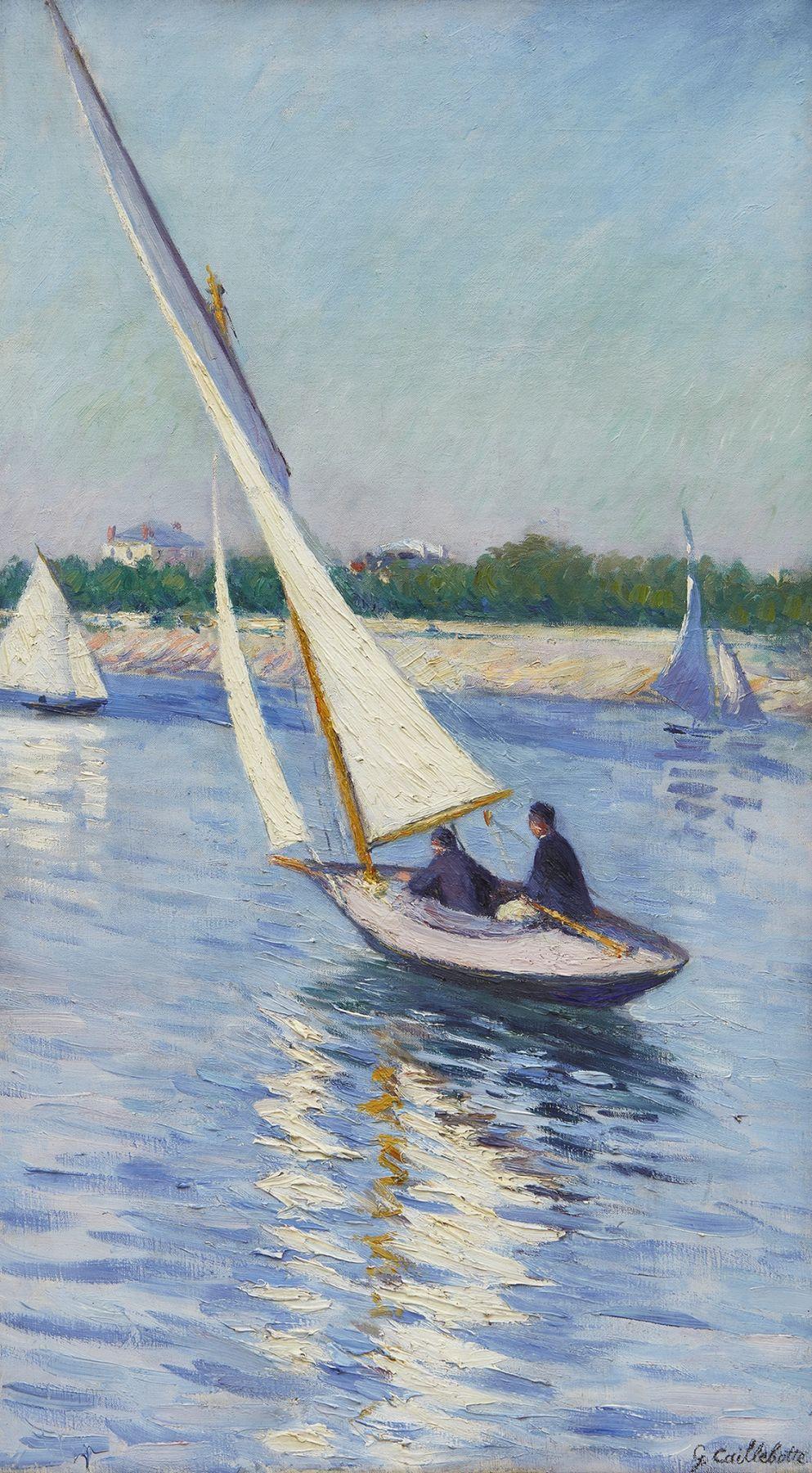 """Image of Gustave Caillebotte's """"Voiliers sur la Seine a Argenteuil"""""""