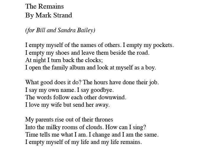 Image of Poem for Bill and Sandra Bailey by Mark Strand