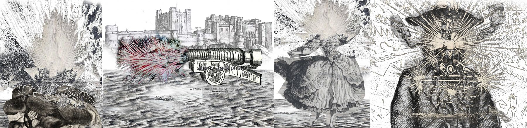 De Beijer's digital collages, altering found 18th-century engravings with colorful explosions to animate the works.