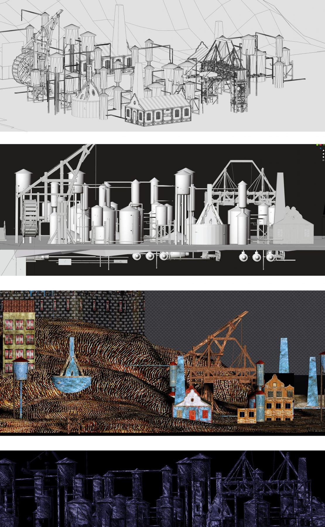 """De Beijer's digital drawing process for """"Refinery"""" (reads from top to bottom)."""