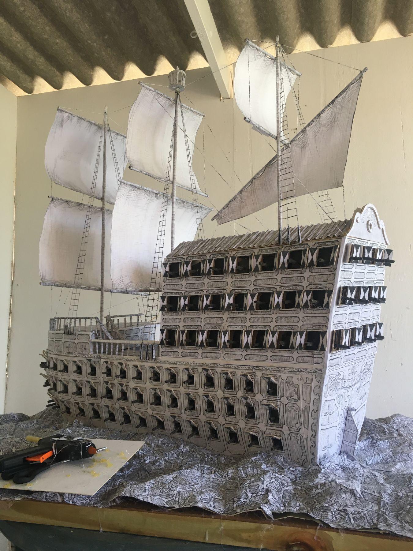 """De Beijer's maquette of """"Galjoen"""" from The Admiral's Headache."""