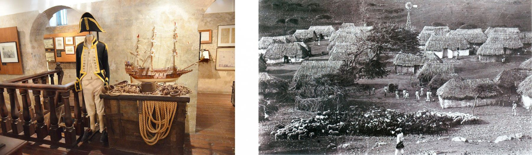 Left: photo by De Beijer, taken during his residency when he visited the Museum Kurá Hulanda, Curaçao.  Right: from the artist's research archive — a former plantation of Siberio Cafiero, Curaçao (1900-1904).