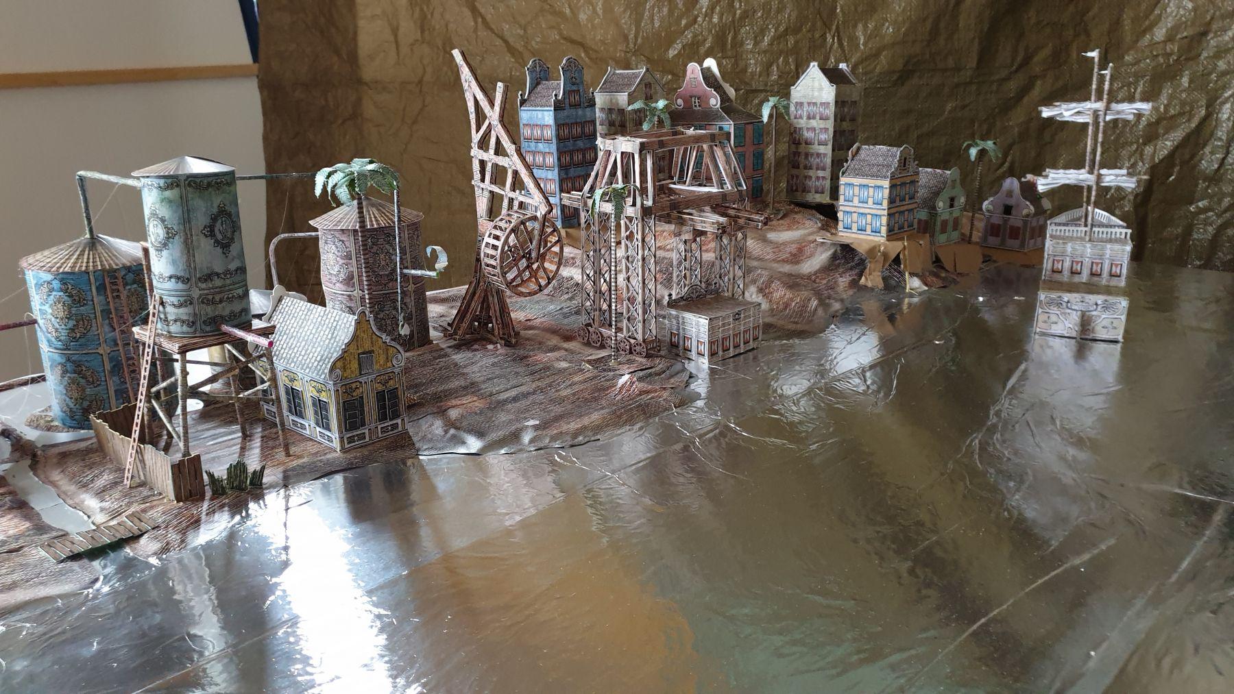 "De Beijer's maquette for ""Refinery"" with paper miniatures."