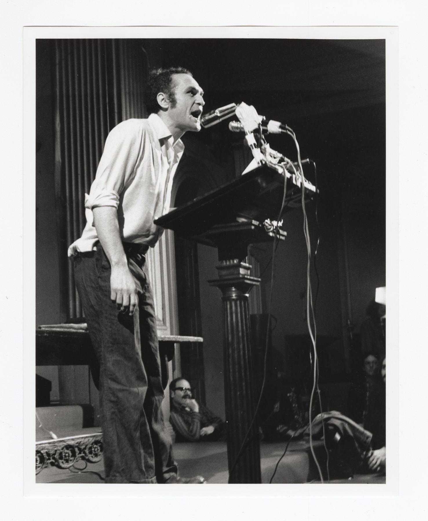 John Giorno performing at St. Mark's Church. New York, April 28 1974