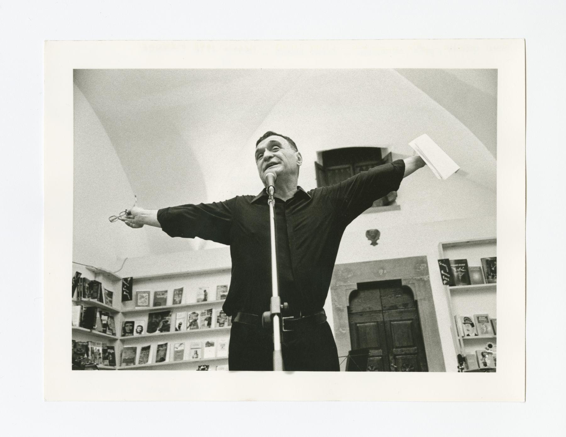 John Giorno performing at City Lights Italia Festival. Florence, Italy, May 4 1998