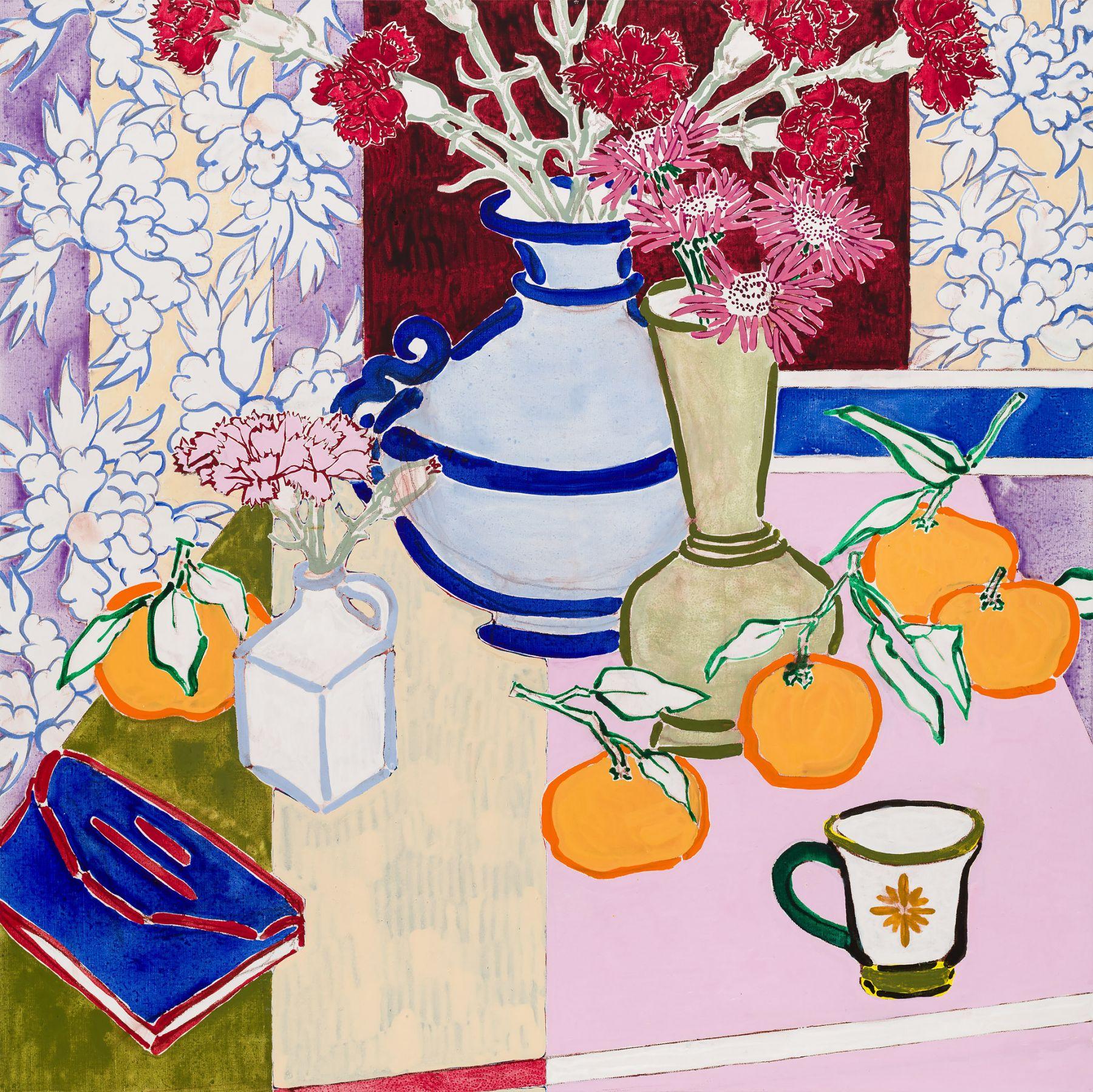 still life with three vases