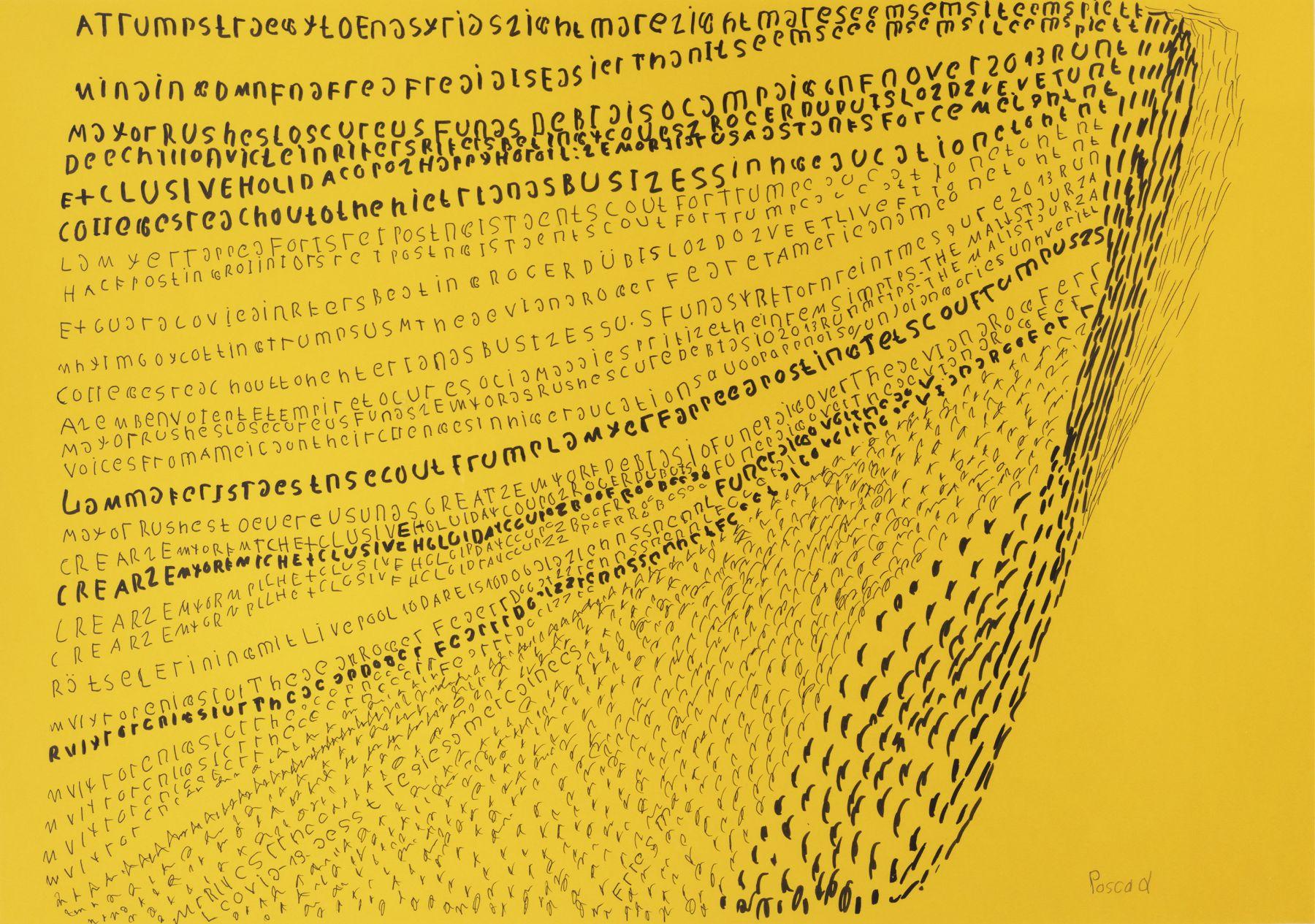 Pascal Vonlanthen  ATrump, 2020  Felt tip pen and acrylic markers on yellow paper  45 x 64 cm