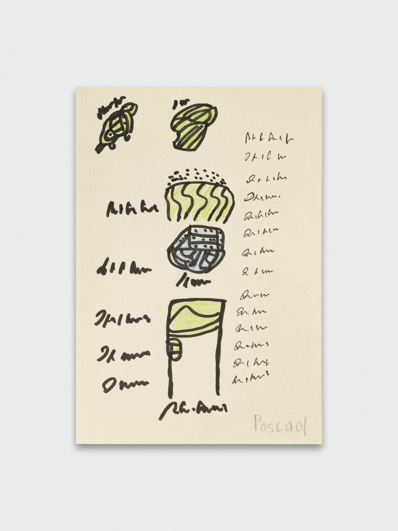 Pascal Vonlanthen I_une porte, 2021  Acrylic markers and pencil on paper 21,5 x 14,7 cm Image © Julien Gremaud