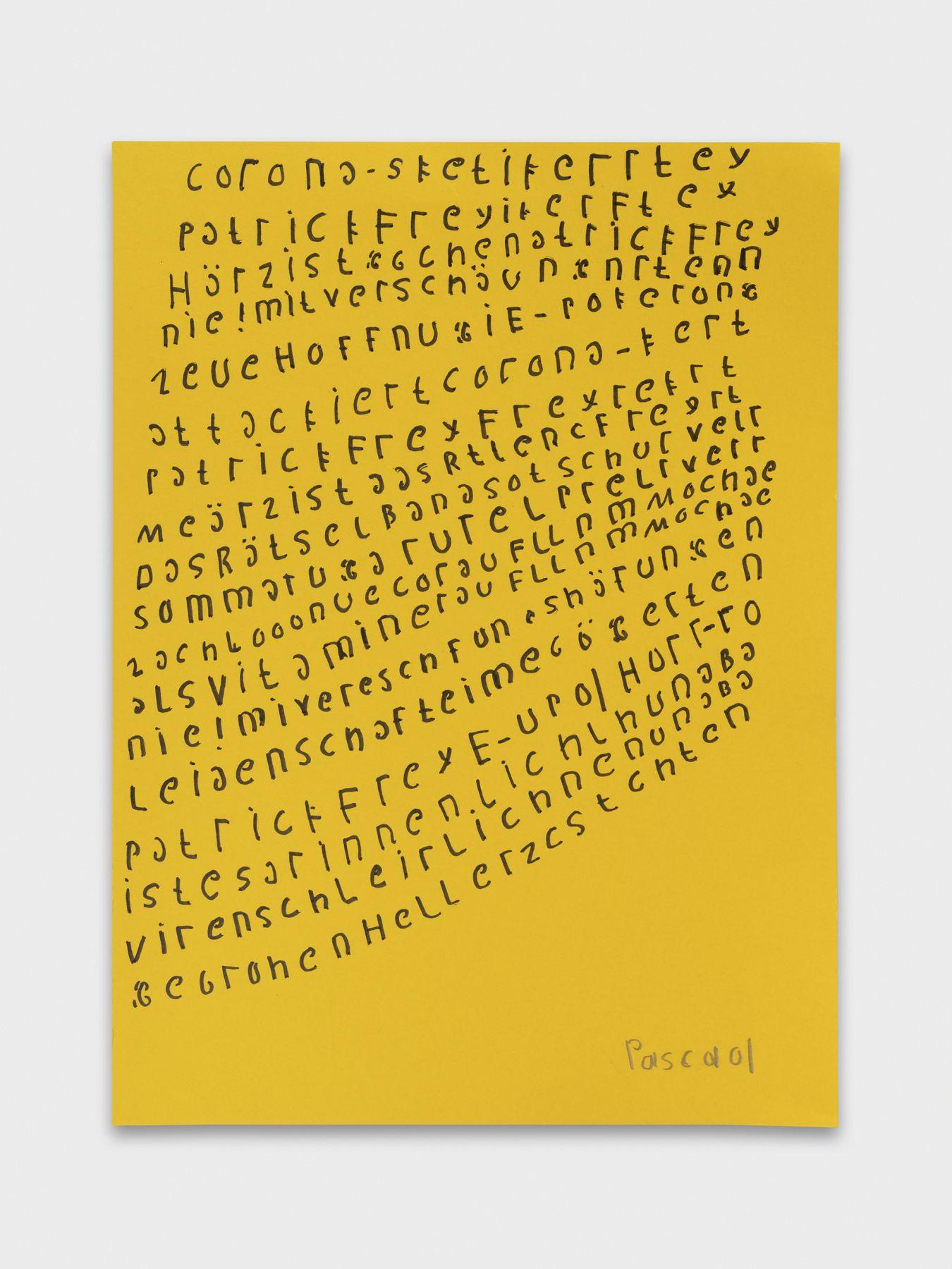 Pascal Vonlanthen B_Corona, 2021 Acrylic markers on yellow paper 27 x 20 cm Image © Julien Gremaud