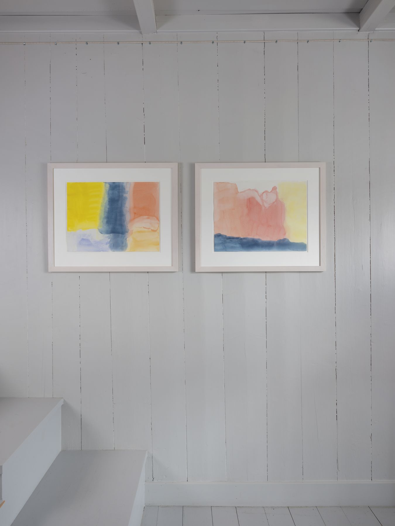 Markus Döbeli  Untitled, 2015 and Untitled 2015  both Watercolors on paper  46 x 61 cm  Installation View, OFFSITE: CHALET, Rossinière, Switzerland | Image © Julien Gremaud