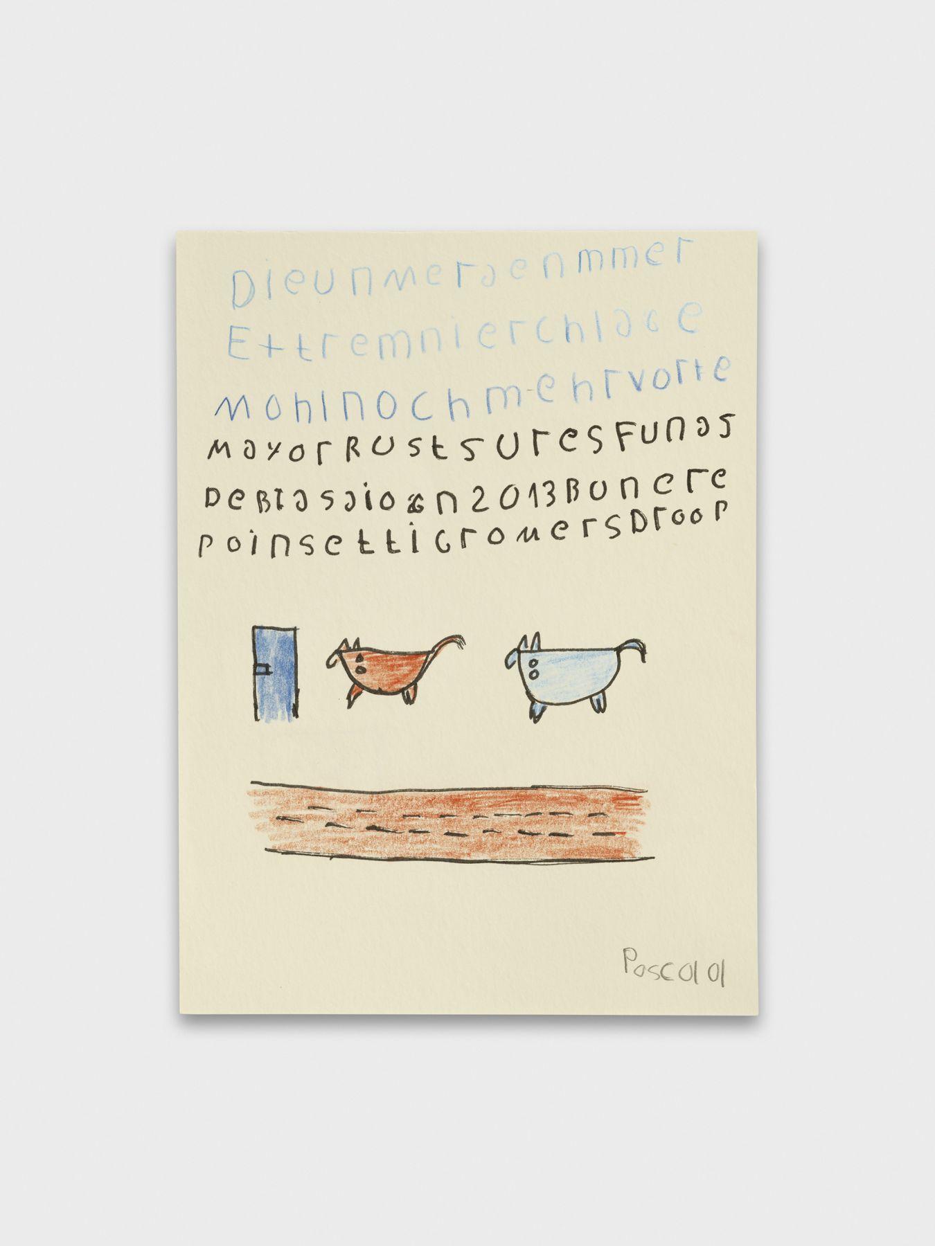 Pascal Vonlanthen E_Dieu, 2021 Acrylic markers and pencil on paper 20 x 15 cm Image © Julien Gremaud