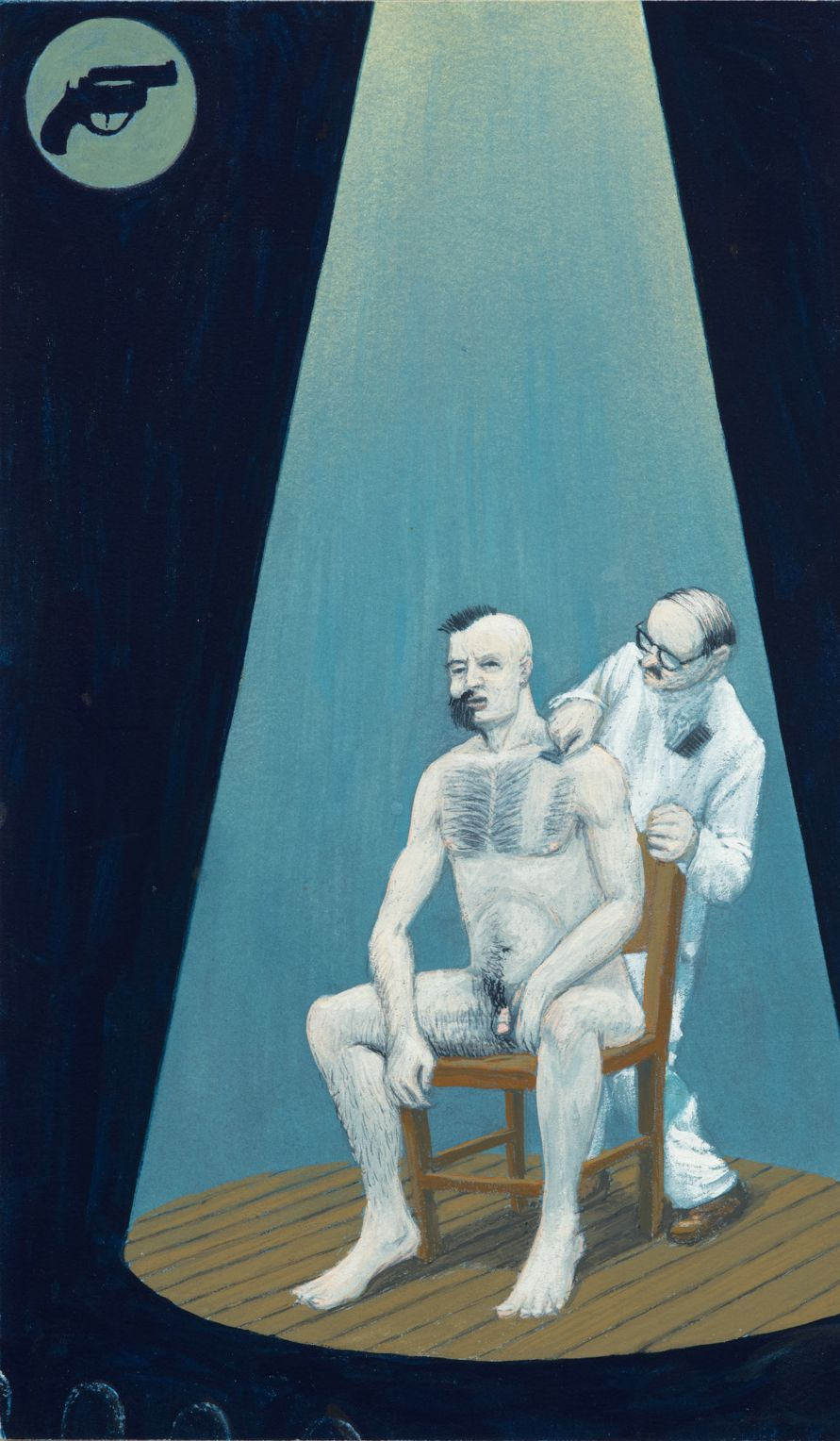Dream Object: Paperback Cover Painting (Man being Shaved), 2001 Gouache on wood 10 1/2 x 6 1/4 in (26.7 x 15.9cm)