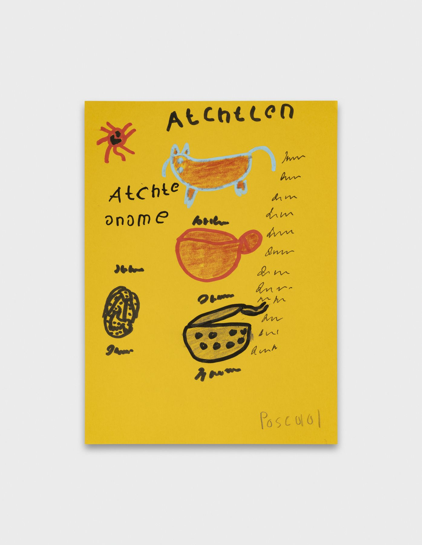 Pascal Vonlanthen T_Atchtlen, 2021 Acrylic markers and pencil on yellow paper 20 x 14,7 cm Image © Julien Gremaud