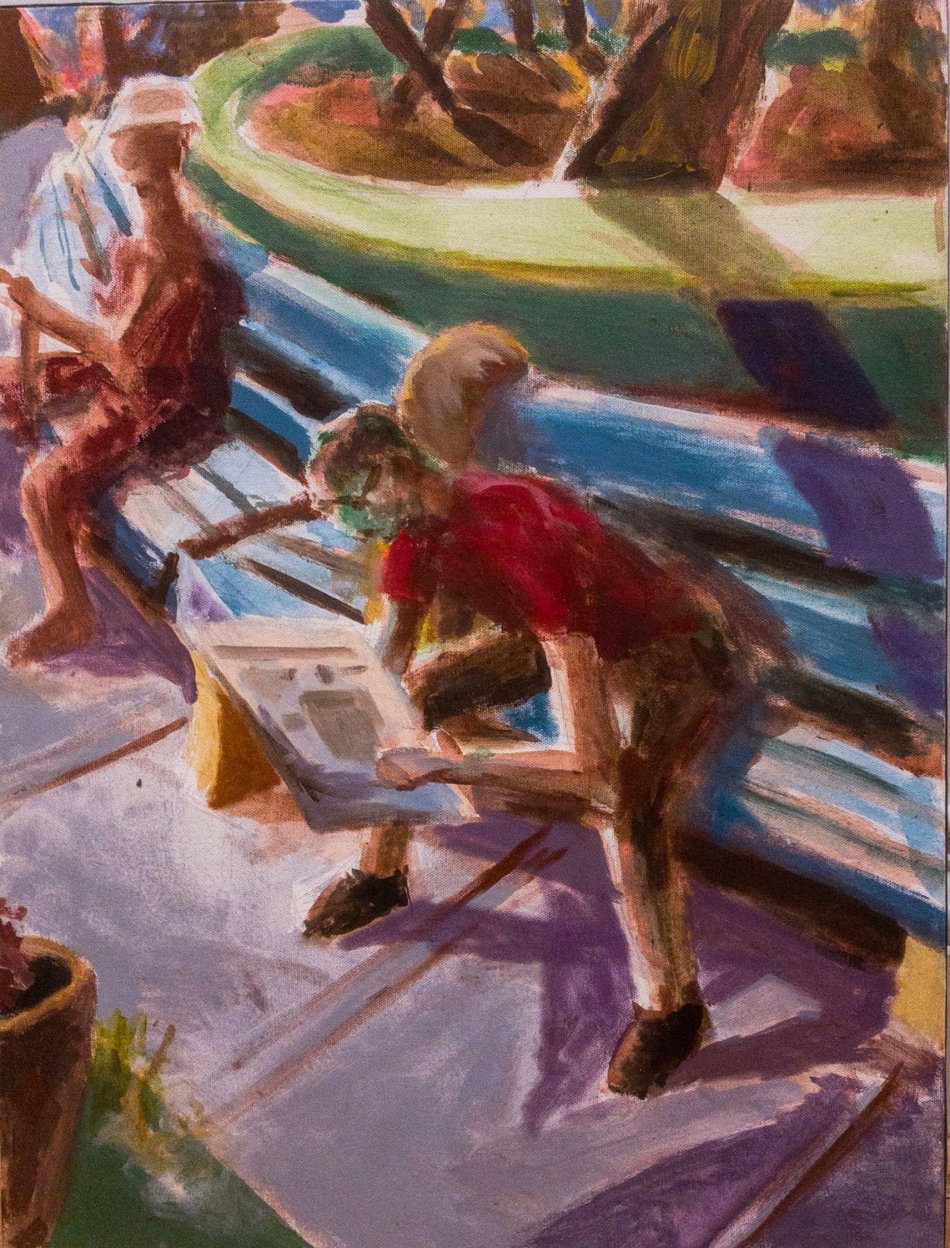 "John Miller Untitled (1982) acrylic on canvas 24"" x 18"""