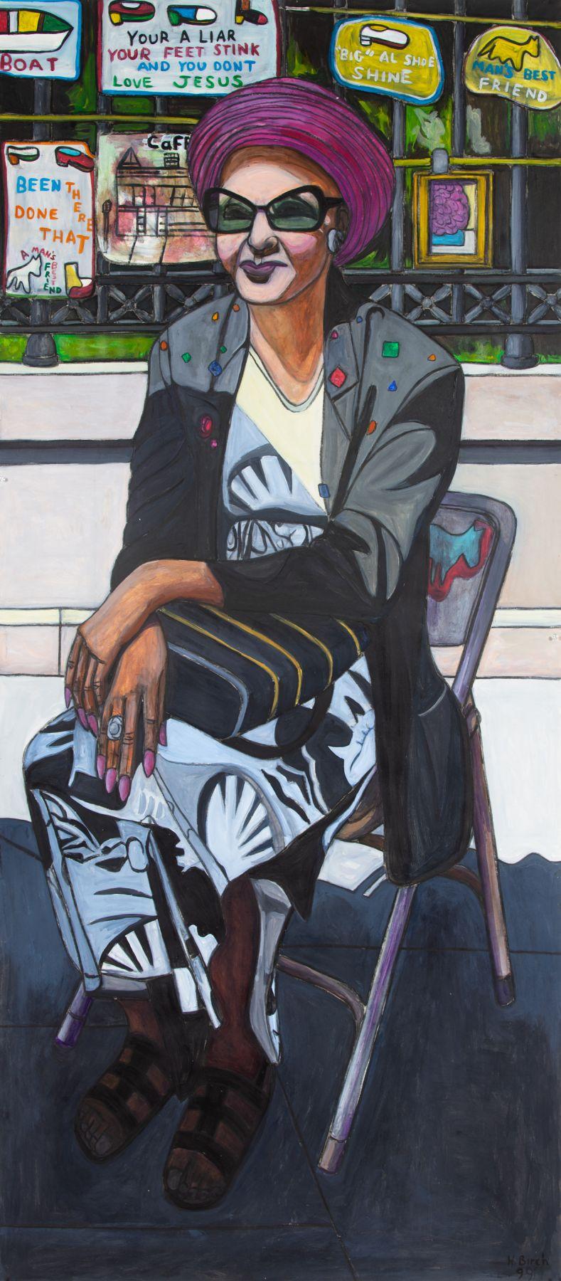 Text, Woman Sitting in Big Al's Gallery