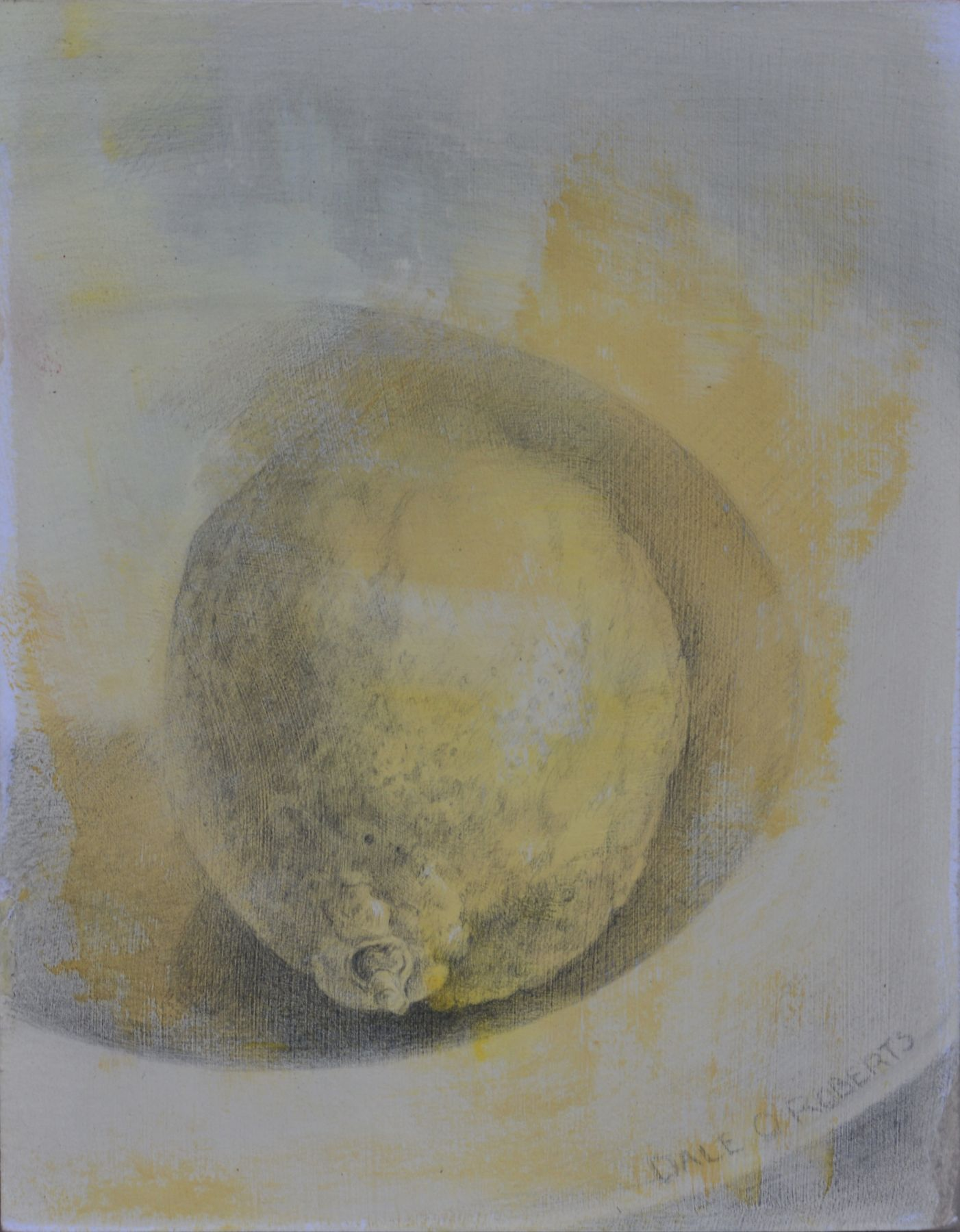 "Lemon, 5.75"" x 4.5"", Silverpoint With Wash"