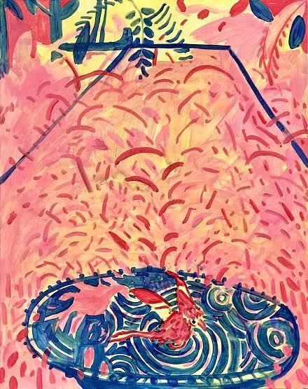 """Birdbath, 30"""" x 24"""", Acrylic On Canvas"""