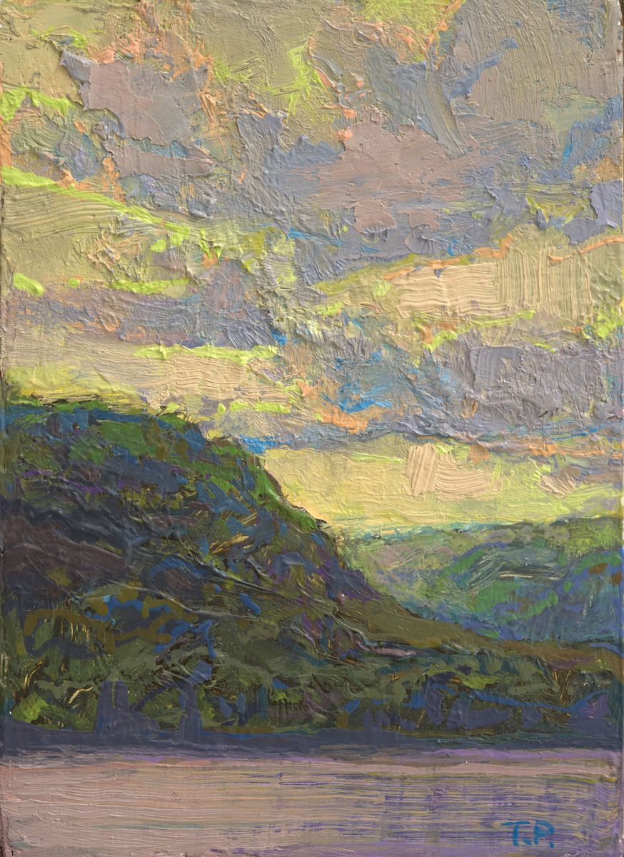"""Clouds So Inclined (Study), 3.38"""" x 2.68"""", Oil/Luan Panel"""