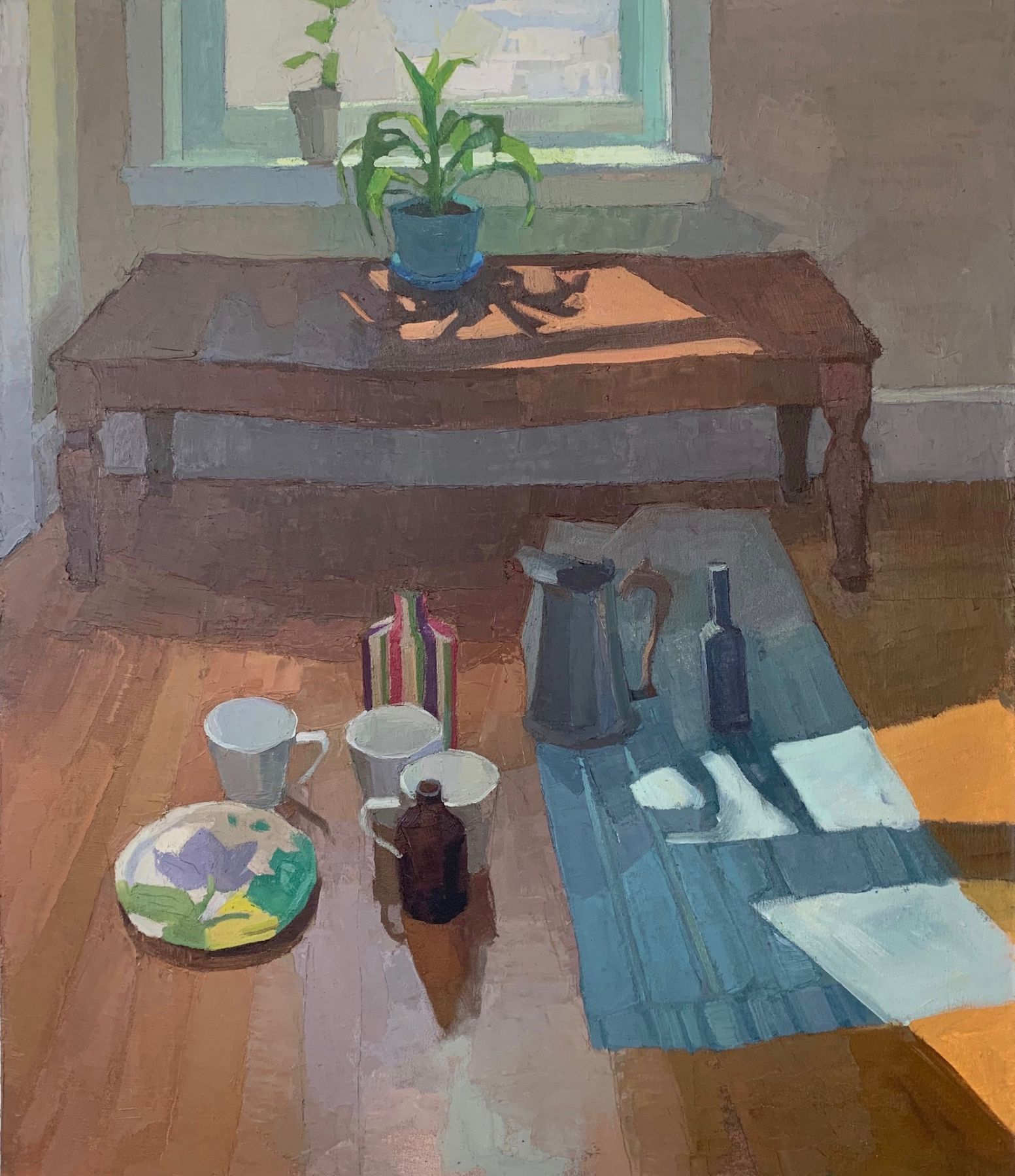 """Good Afternoon, 35"""" x 30"""", Oil On Canvas Mounted On Board"""