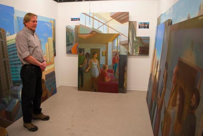 Scott Noel in his studio. Pictured in front of Persephone's Departure. Photo Credit: Josiah King