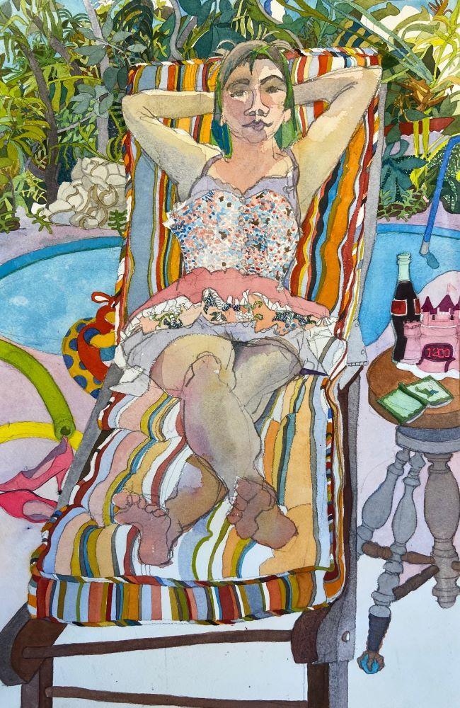 Joan Becker, M At The Pool, Watercolor
