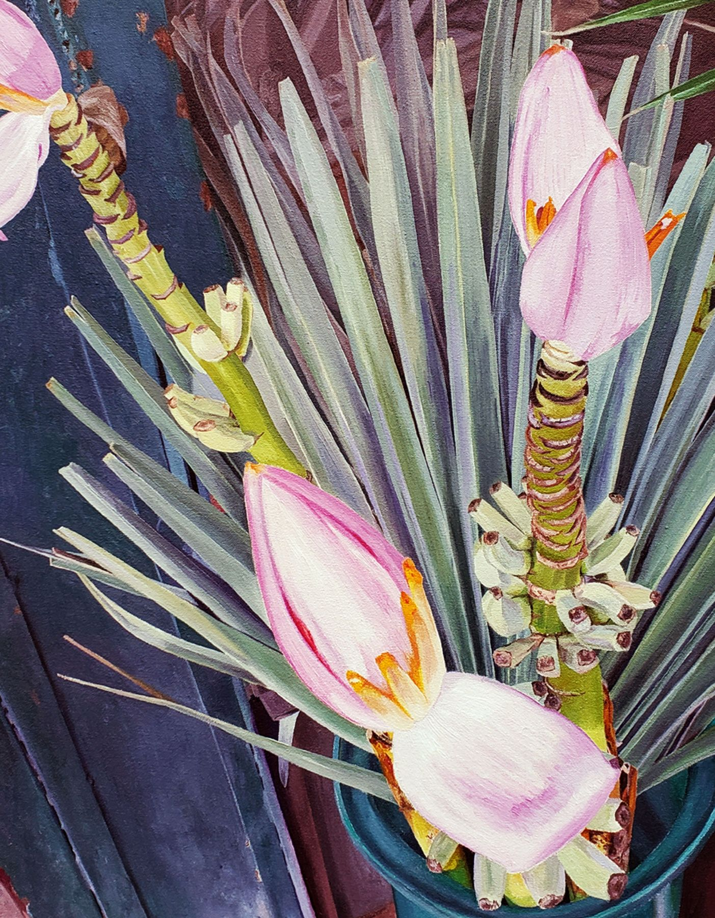 Naomi Chung, Pink Banana Flower, Oil On Canvas