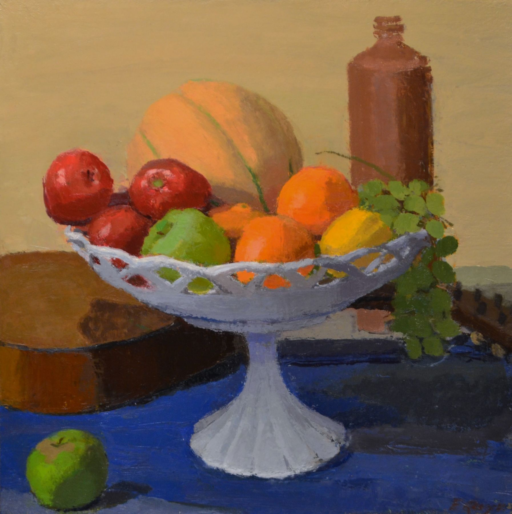 """Compote And Mandolin, 16"""" x 16"""", Oil On Linen"""