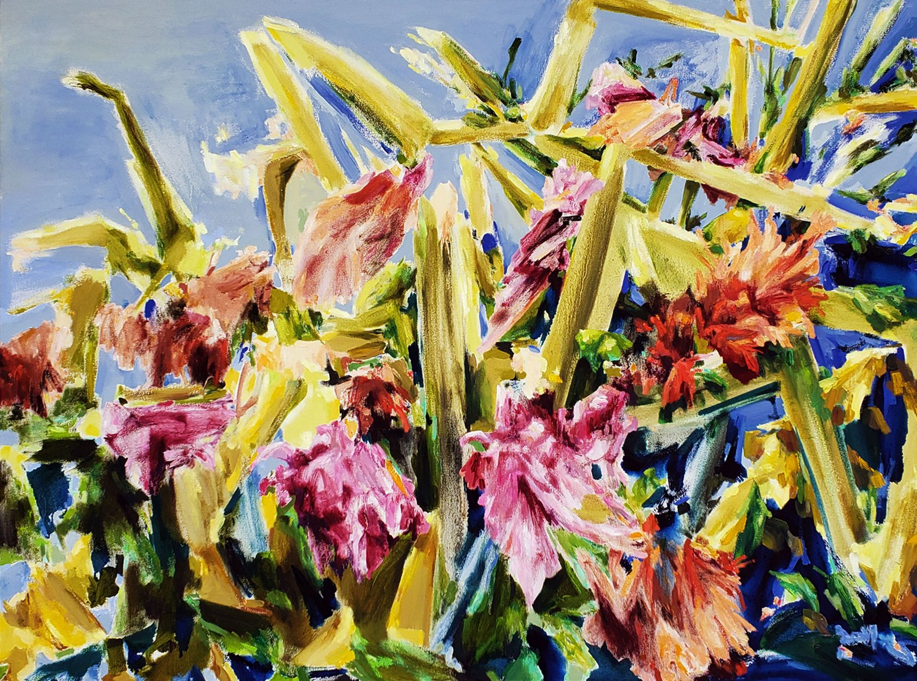 Naomi Chung, Wild Gladioli, Oil On Canvas